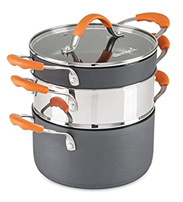 Allrecipes 50121-9983-STS 3 Piece Stackable Hard Anodized Sauté Set, One Size, Gray