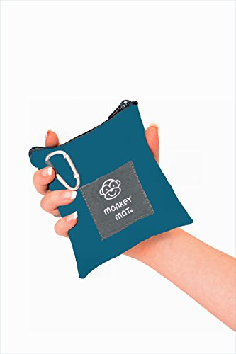 Mini Monkey Mat Portable Indoor Outdoor 3X5 Water Sand Repellent Blanket With Corner Weights   Loops In Pocket Sized Pouch For Beach  Picnic  Baby  Camping  Travel  Concert  Blue