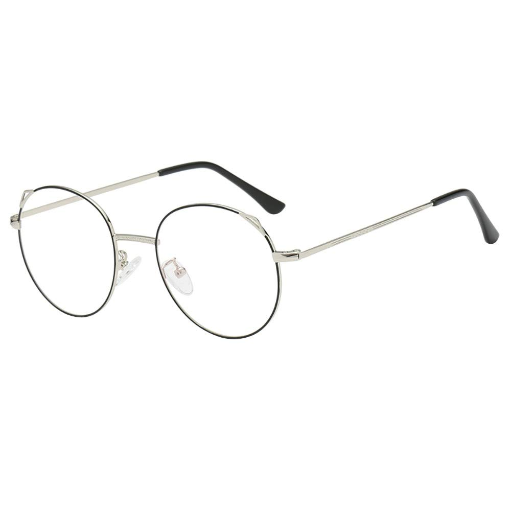 Jersh ☆ Unisex Silver and Black Beatles Retro Sixties Style Round Metal Glasses Metal Frame Round Eyeglasses Retro Metal Clear Lens Glasses