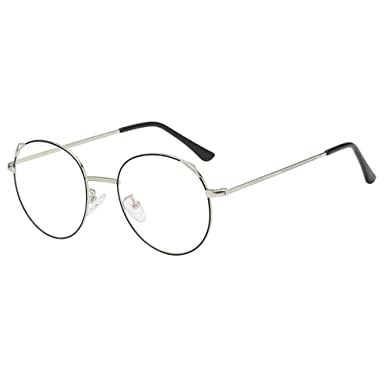044b14d25f8 Unisex Classic Round Metal Frame Clear Lens Glasses Vintage Pilot Aviator  Eyeglasses Clear Lens Glasses Geek Sunglasses for Men and Women