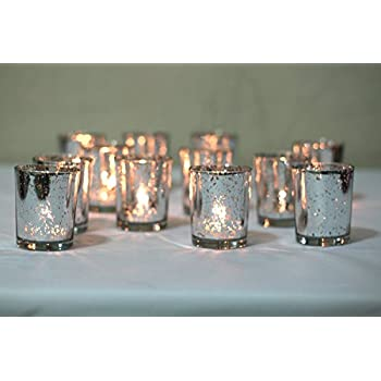 Mercury Votive Candle Holder. Set of 12 (Vintage Silver)