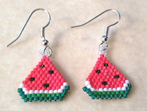 Watermelon Slices Sculptured Picture Seed Bead Dangle Earrings