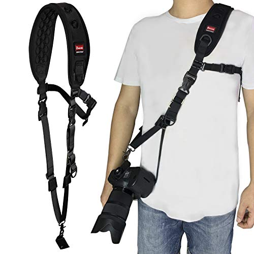 - Ztowoto 2019 Newest Camera Strap with Massage Function Shoulder Pad,Camera Strap Rapid Fire Shoulder Neck Strap Sling Belt Quick Release and Safety Tether for DSLR SLR Camera (Black-2)