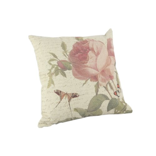 """Createforlife Home Decor Cotton Linen Square Throw Pillowcase Cushion Cover Pillow Shams Pink Butterfly Fly to the Blossoms 18"""" x 18"""""""