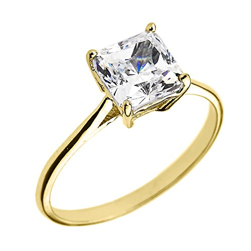 10k Yellow Gold CZ Princess Cut Solitaire Engagement Ring (Size 6) ()