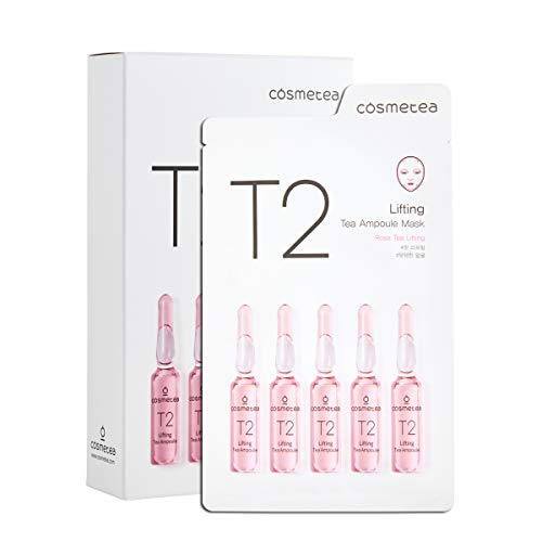 COSMETEA Korean Essence Face Mask - T2 Rose Tea Lifting Ampoule Full Facial Masks 10 Pack Treatments, Care Your Skin Anti-Aging, Anti-Wrinkle, Purifying, Moisturizing for Women and Men
