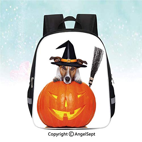 Schoolbag for Kids,Witch Dog with a Broomstick on Large Pumpkin Fun Humorous Hilarious Animal Print,13