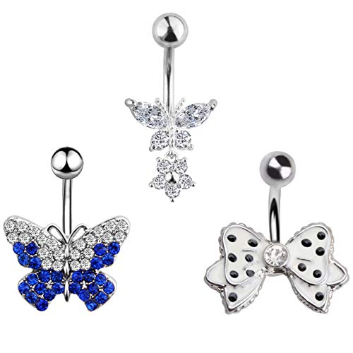 TOPBRIGHT 1-10PCS 16G Surgical Steel Dangle Navel Belly Button Ring Bar Curved Barbell Body Piercing Jewelry for Women Crystal CZ Ball Screw Navel Bars (3PCS-Butterfly) ()