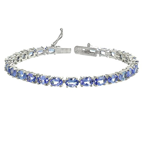 Sterling Silver Genuine Tanzanite Oval-cut Tennis Bracelet by GemStar USA
