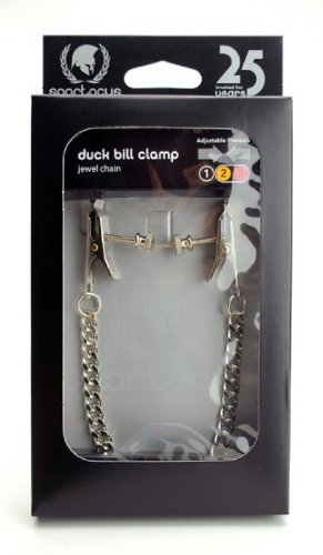Spartacus Adjustable Duck Bill Nipple Clamps with Jewel Chain, Silver