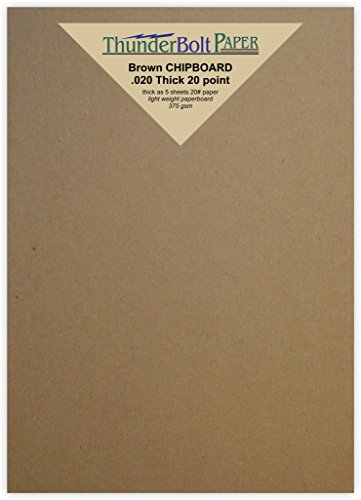 175 Sheets Chipboard 20pt (point) 5 X 7 Inches Light Weight Photo|Card|Postcard Size .020 Caliper Thick Cardboard Craft|Ship Brown Kraft Paper Board by ThunderBolt Paper