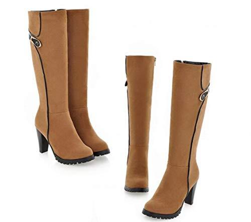 Albaricoque E Largas Redonda Con De Invierno Caballero otoño Las 34 39 botas Cálidas Mujer Cabeza Gruesas Botas 10zaqz