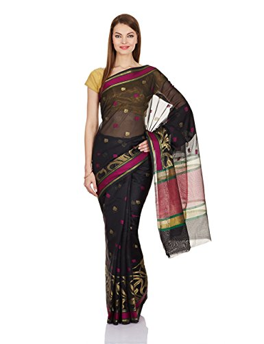 Sarees India Silk (Chandrakala Women's Banarasi Silk Saree Free Size Black)