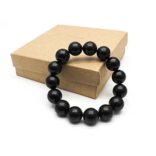 Karelian Heritage Adjustable Bracelet with Authentic Shungite, Protection Bracelet from Russia (12 mm Round Beads) SB78 12mm Round Beads Stretch Bracelet