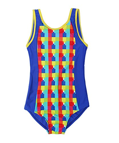ReliBeauty Big Girls Check One Piece Swimsuit
