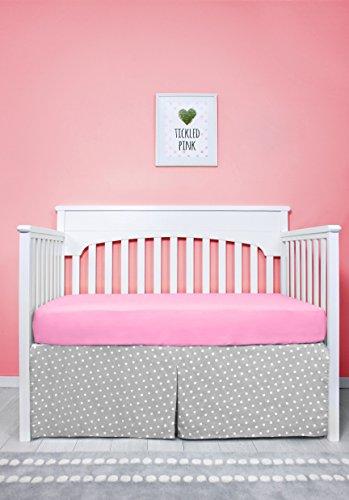 "52"" x 28"" Grey & White Polka Dots Pattern Pleated Crib Bed Skirt, Baby Nursery Toddler Bedding, Boys/Girls 16"