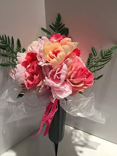 GRAVE DECOR - CEMETERY MARKER - FUNERAL ARRANGEMENT - FLOWER VASE - YELLOW & PINK PEONIES, PINK PEONIES, WHITE & PINK PEONIES, PINK HYDRANGEAS, AND PINK ROSES