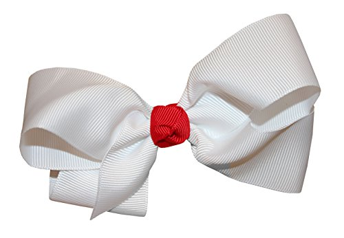 WD2U Girls White & Red Christmas Holiday GrosGrain Hair Bow Alligator Clip 5226