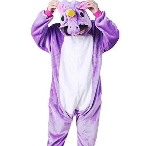 Elonglin Unisex Childrens Animal Onesie Cosplay Flannels Hooded Kids Sleepsuit Sleepwear Nightwear For Party Halloween Music Festival Purple Pegasus Length 52-56 inch (Halloween Music For Kids Parties)