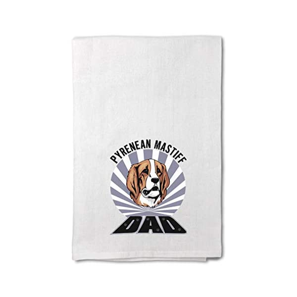 Style In Print Custom Decor Flour Kitchen Towels Dad Pyrenean Mastiff Dog Pets Dogs Cleaning Supplies Dish Towels Design Only 1