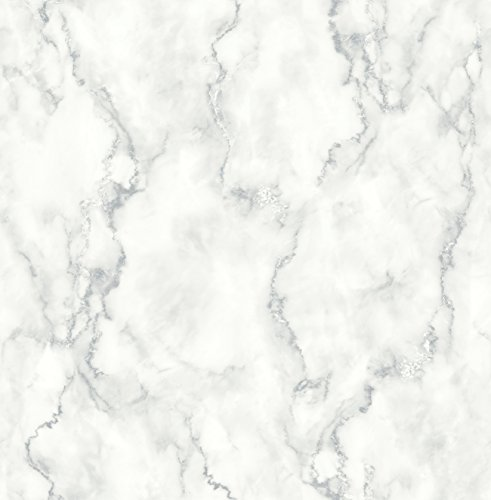 NextWall Faux Marble Texture Peel and Stick Wallpaper (White & Gray)