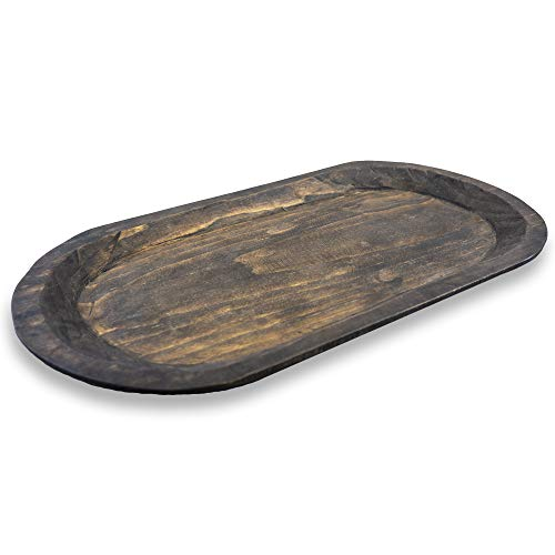 Fifth + Nest Handmade Wooden Dough Bowl Centerpiece Large Candle Tray -Antique Inspired Artisan Made in Central America ()
