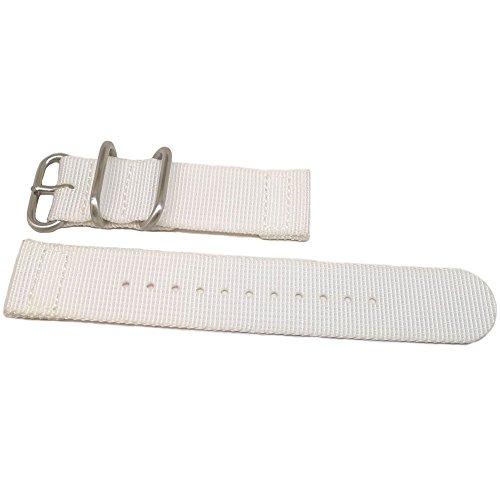 DaLuca Two Piece Ballistic Nylon NATO Watch Strap - White : 20mm