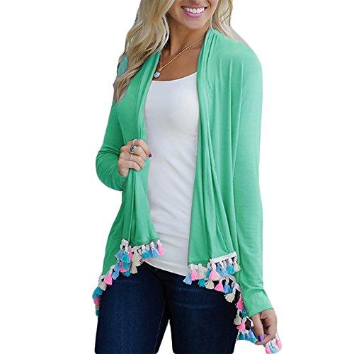 Daman Langärmelig Fellfarbe Quasten Asymmetrisch Kimono Strickjacke Cardigan Tunika outwear Mäntel (L, grün)