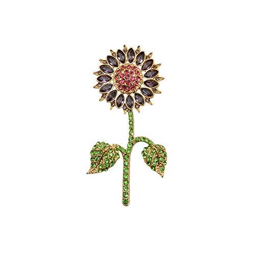 (TTjewelry Pretty Purple Austrian Crystal Sunflower Flower Woman Brooch Pin Gold Tone)