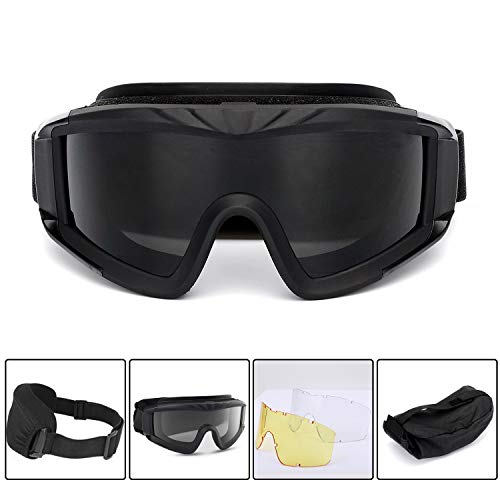 Multi Outools Airsoft Goggles,Tactical Safety Goggles Anti Fog Military Glasses with 3 Interchangeable Lens for Paintball Riding Shooting Hunting Cycling (Black) (Goggles Fog Anti Interchangeable)
