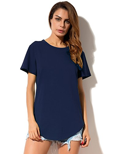 MSHING Women's Summer Simple Casual Plain Loose T-shirt Tops