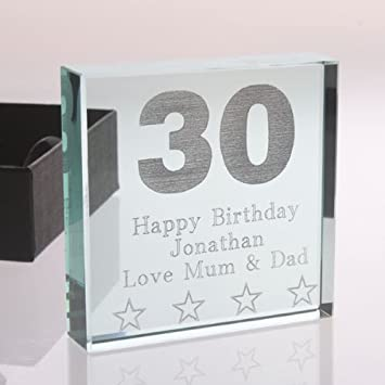 The Gift Experience Engraved 30th Birthday Glass Block Keepsake