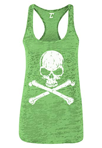 Skull and Crossbones - Badass Women's Racerback Tank Top (Kelly Green, Medium) -