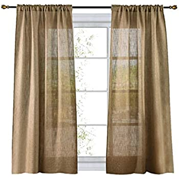 Amazon Com Jinchan Linen Textured Curtains Tie Up Shade