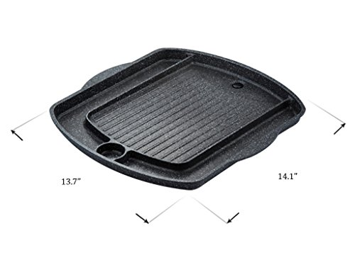Korean BBQ Grill Pan, Square Roast Pan, Non-Stick Coated Pan(Exterior/Interior) by Kitchen Flower (Image #3)'