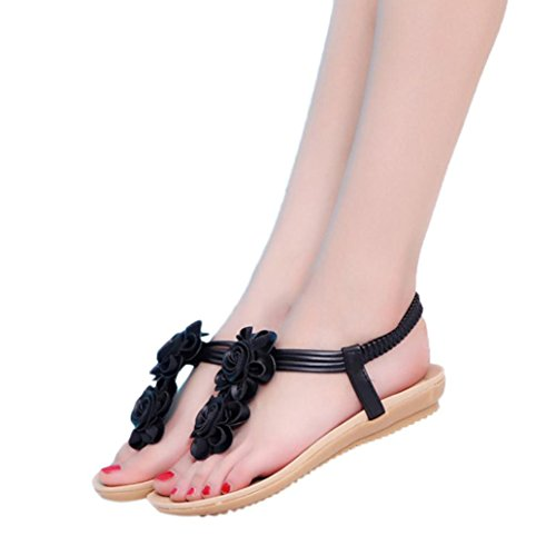 Inkach Womens Wedges Flat Sandals - Fashion Summer Flower Flip-Flops Sandals Ankle Wrap Shoes Black Qctkbh