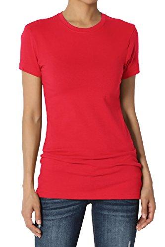 Cotton Extra Long T-shirt - TheMogan Women's Basic Crew Neck Short Sleeve T-Shirts Cotton Tee Red XL