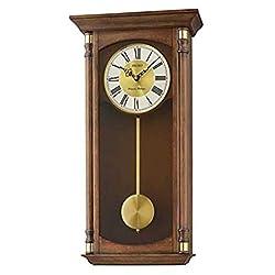 Seiko Oak Finish Wood Wall Clock with Pendulum and Chime, Brown