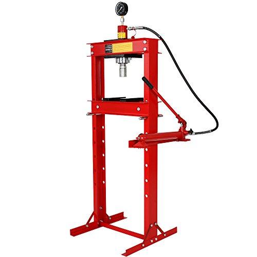 Werkstattpresse 20t inkl. Hydraulikpumpe, 2 Druckplatten und Manometer, Hydraulikpresse höhenverstellbare Lagerpresse