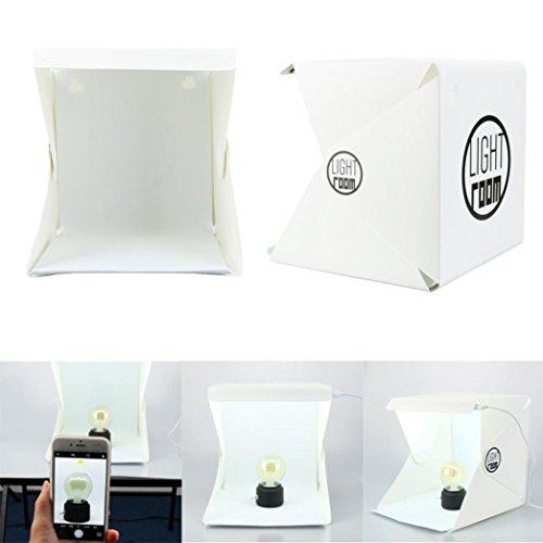 Portable Folding Photography Box, LED Light Room Photo Studio Photography Lighting Tent Kit Backdrop Cube Mini Box, Foldable design Lightbox USB Cable Black and White Backdrops