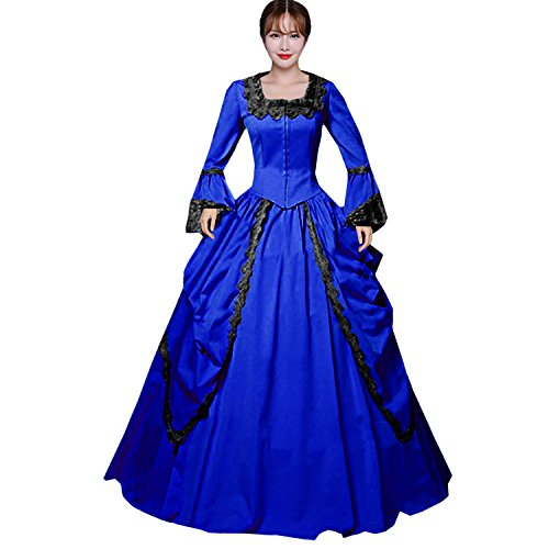 Comic Con Womens Costumes (Partiss Womens Pink Marie Antoinette Masked Ball Victorian Costume Dress,M,Royal Blue)