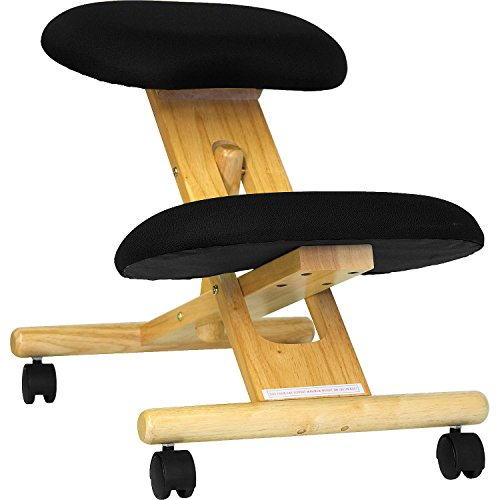 MFO Mobile Wooden Ergonomic Kneeling Chair in Black Fabric