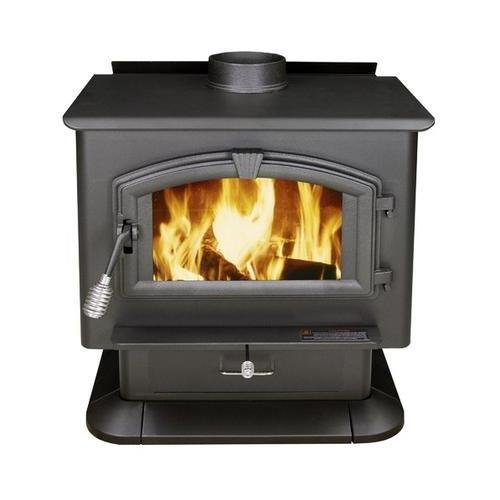 3000 21 Log Length Firebrick Lined Extra Large Wood Burning Stove with Large Viewing Window and Air Wash Glass in Black Finish