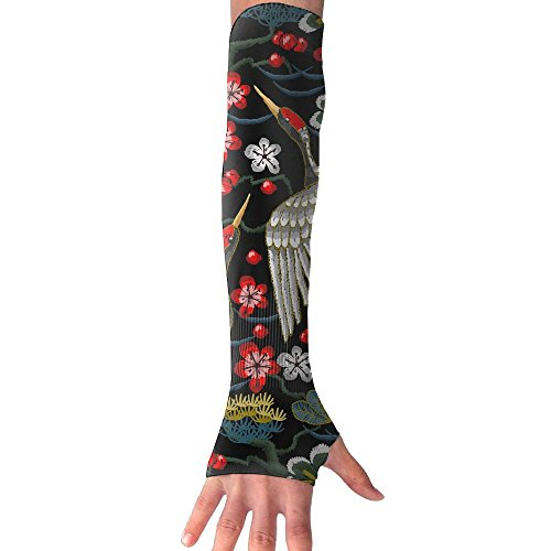 Mossey Raymond UV Protection Cooling Arm Sleeves for Men Women - 1 Pair, Couple Crane Flower - Black by Mossey Raymond