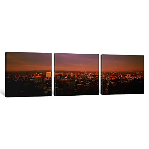 iCanvasART 3-Piece USA, Washington, Spokane, Cliff Park, High Angle View of Buildings in a City Canvas Print by Panoramic Images, 1.5 by 48 by (Spokane Washington Usa Framed)