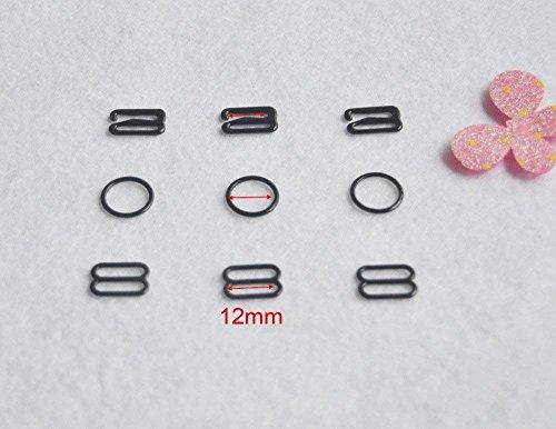 (150 pcs/lot Nylon Coated Metal Lingerie Adjustment strap slides Hardware Sewing Clips Clasp Hooks for Bra Strp Black color (12mm))