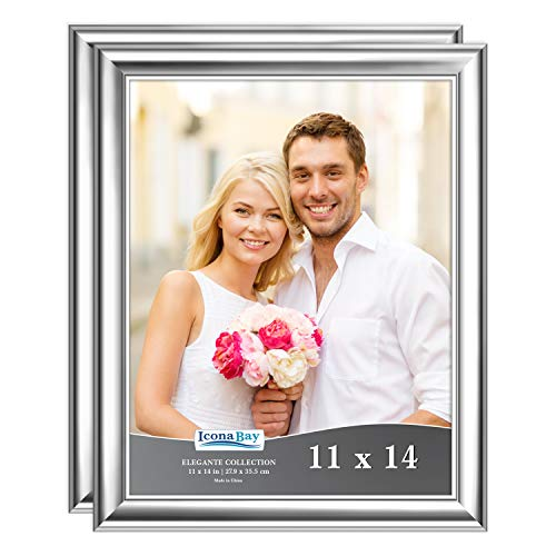 Icona Bay 11x14 Picture Frame (2 Pack, Silver), Silver Photo Frame 11 x 14, Wall Mount or Table Top, Set of 2 Elegante Collection (Wedding Picture Frames 11 X 14)