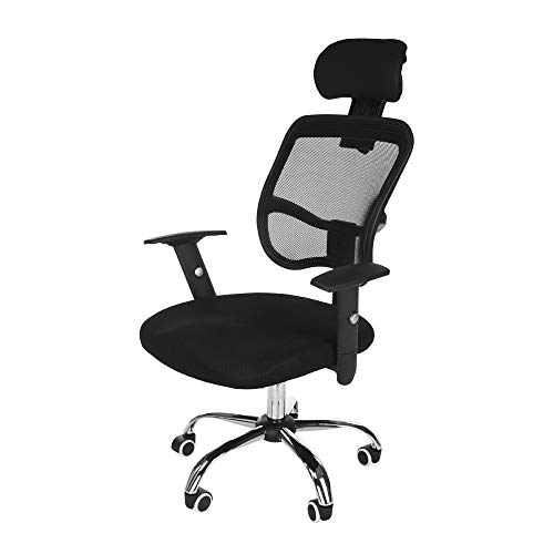 (Office Work Chair,CSSD Ergonomic Swivel Executive Adjustable Task MidBack Computer Stool with Arm in Home-Office Mesh Chair Black(Ship from US) (22×11×21inch, Black) )