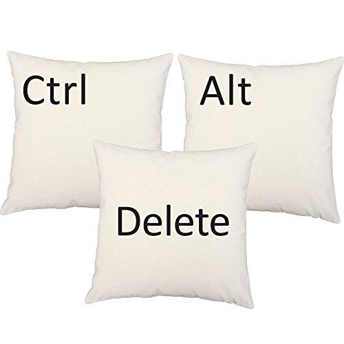 RoomCraft Set of 3 Ctrl Alt Delete Throw Pillow Covers 14x14