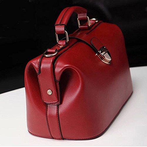 Bolsa De Médico Mujeres Asas Vintage Europa Cuerpo Hombro Rojo DELEY Cruz De Bolsa Estilo x7WY6vxTwq